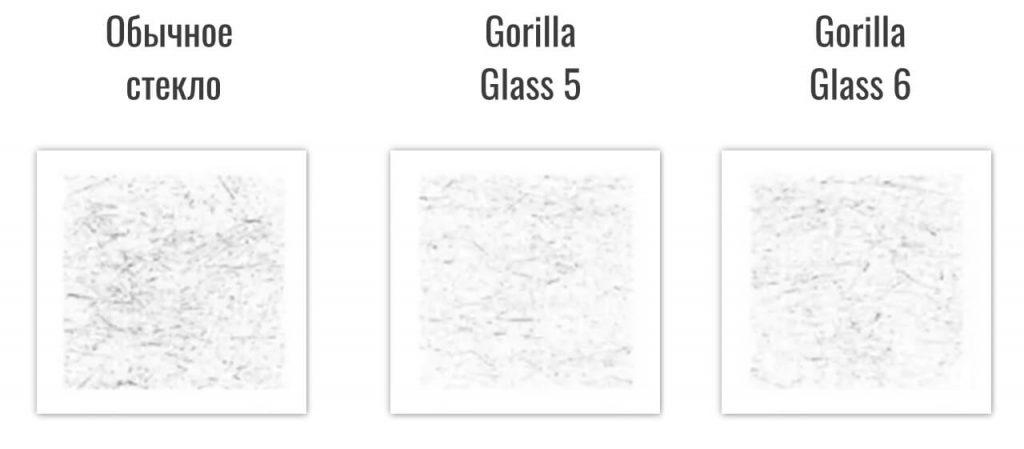 сравнение устойчивости к царапинам Gorilla Glass 5 и Gorilla Glass 6