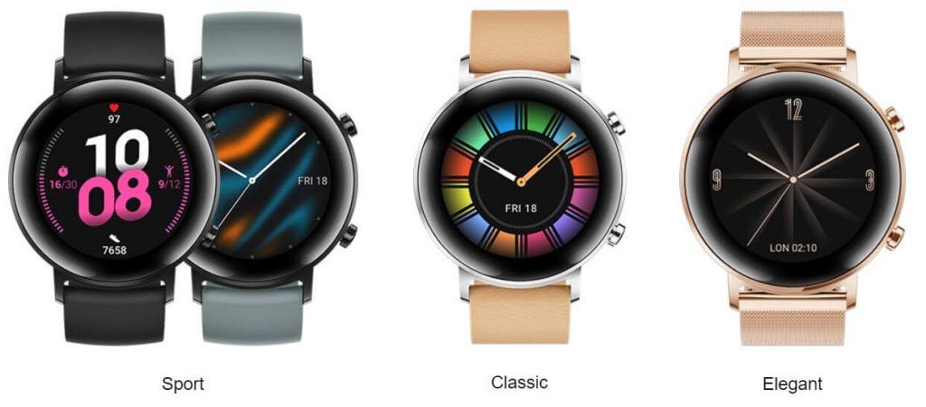 варианты дизайна Huawei Watch GT 2 в размере 42 мм