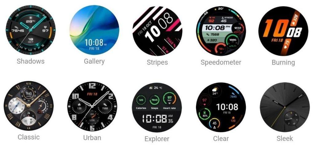 стандартные циферблаты в Huawei Watch GT 2