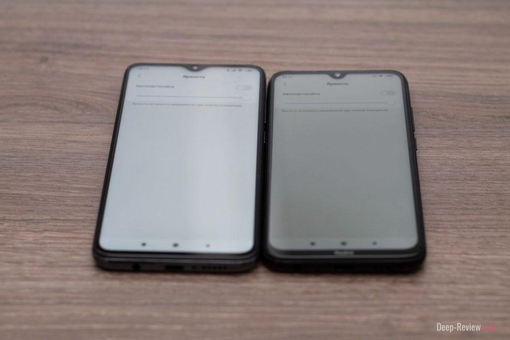 сравнение яркости экранов Redmi Note 8 и Note 8 Pro
