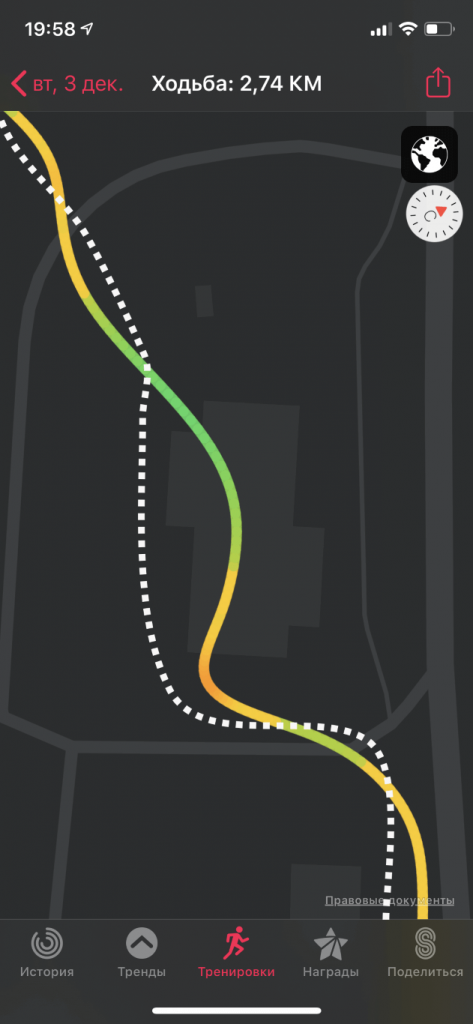 сравнение реального маршрута с GPS