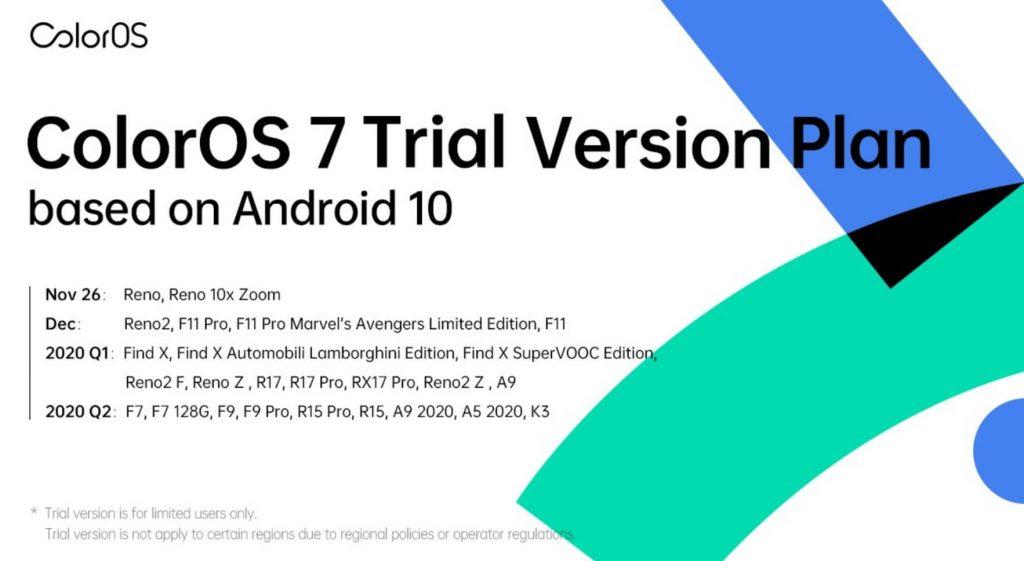 обновление ColorOS 7 на смартфоны Oppo