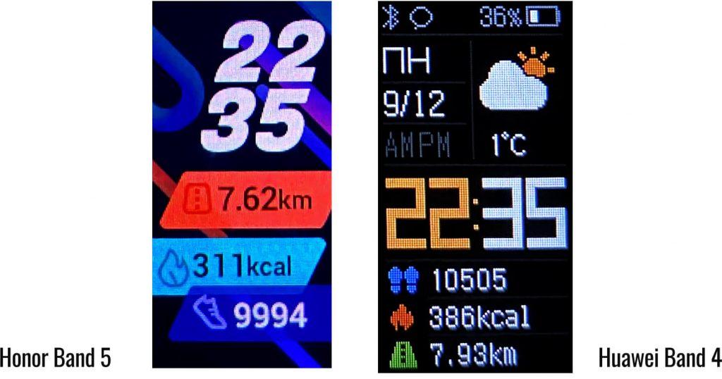 сравнение подсчета шагов на Honor Band 5 и Huawei Band 4