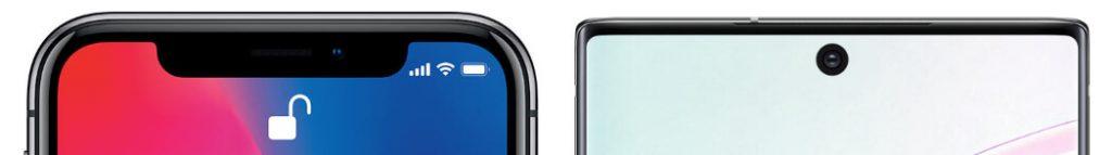 сравнение вырезов iphone 11 pro и galaxy note 10