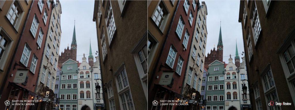 сравнение снимков в режимах 108 и 27 мегапикселей камеры Mi Note 10