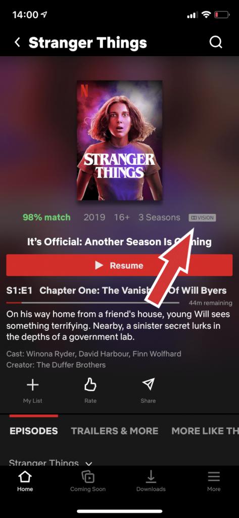 Dolby Vision в приложении Netflix