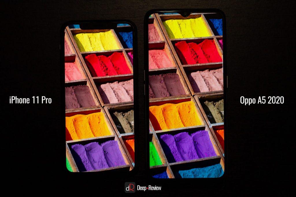 сравнение экранов iPhone 11 Pro и Oppo A5 2020