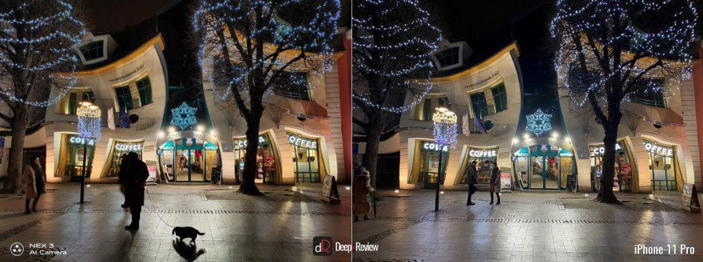 сравнение ночных снимков iPhone 11 Pro и камеры Vivo Nex 3