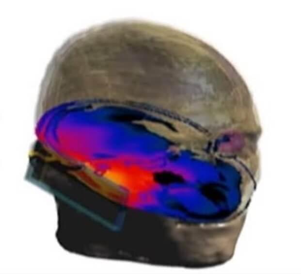 3d модель облучения телефоном головы человека