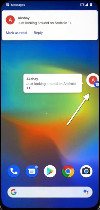 плавающие иконки сообщений в Android 11