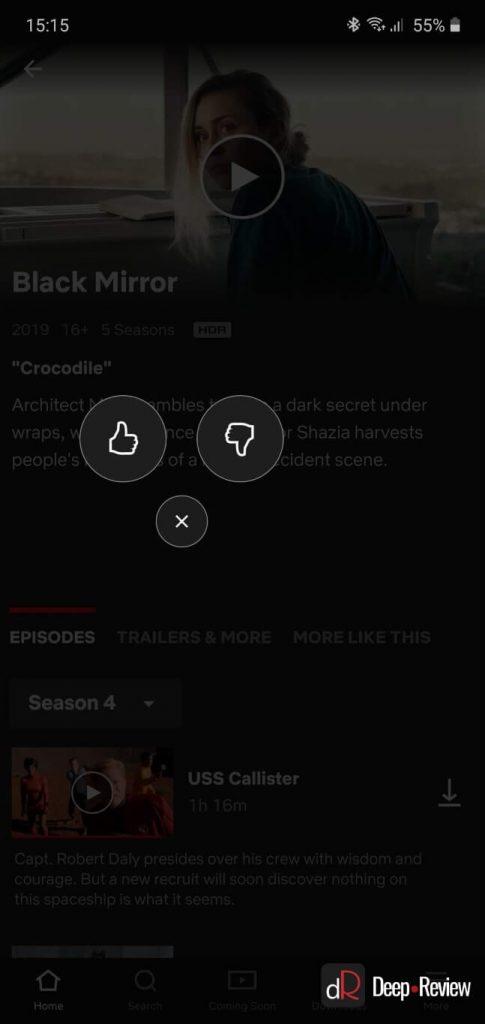 лайки и дизлайки в приложении Netflix