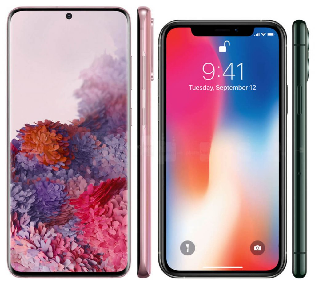 сравнение размеров Galaxy S20 и iPhone 11 Pro