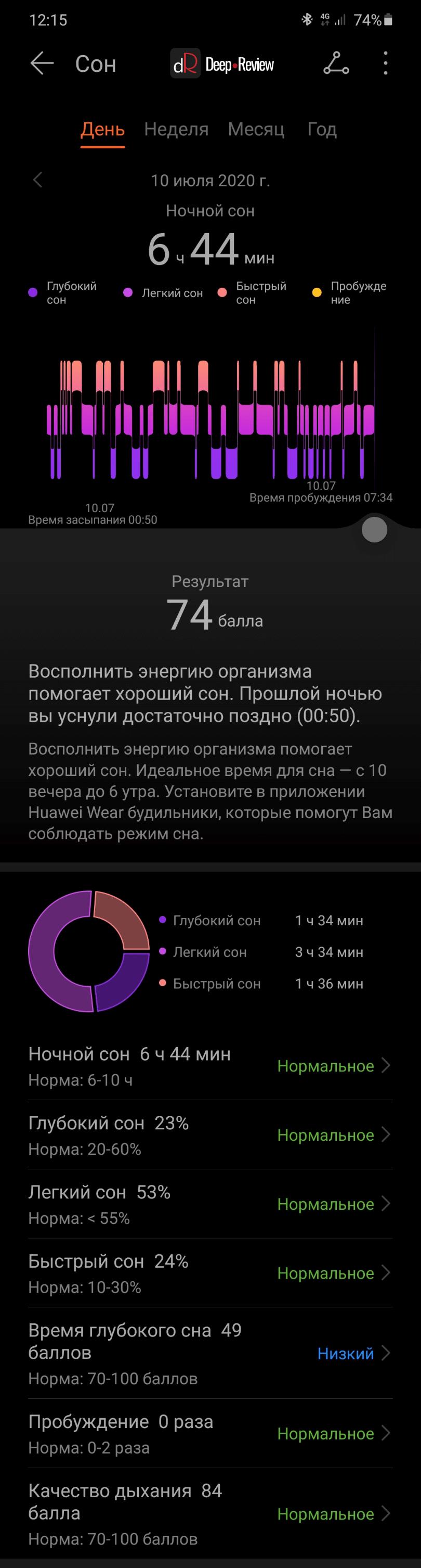 подробный анализ сна на Huawei Watch GT 2e