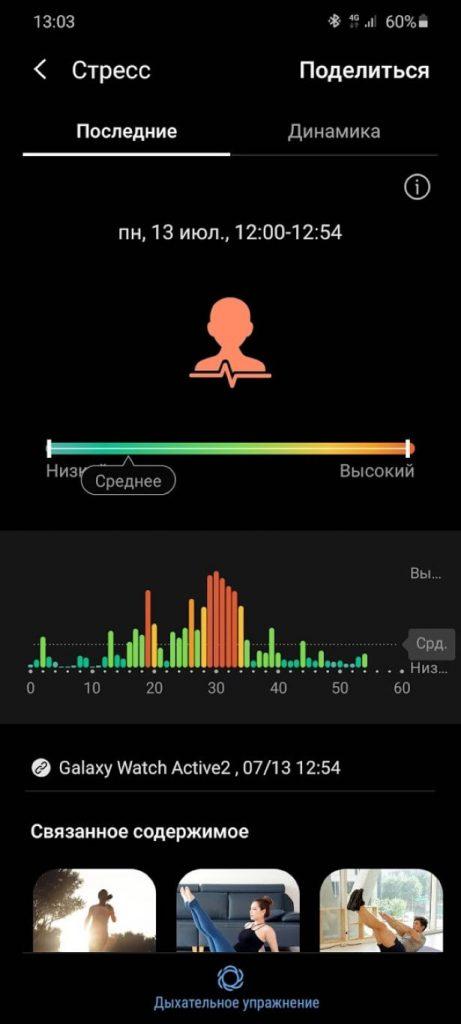 Уровень стресса на часах от Samsung