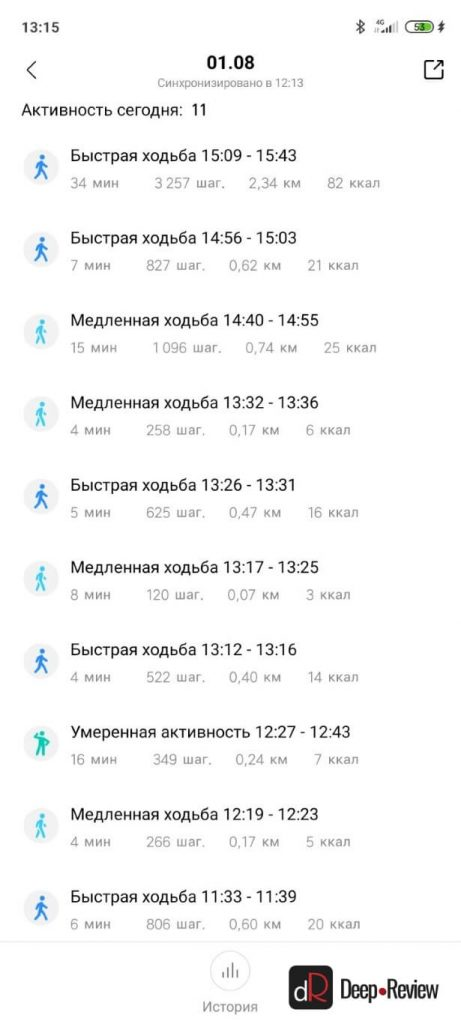 отчет об активности за день amazfit bip s