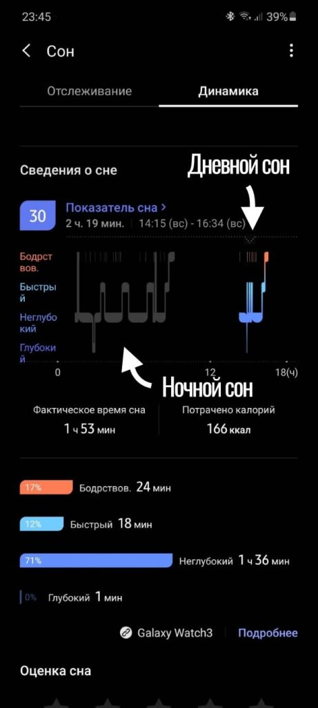 дневной сон на galaxy watch 3