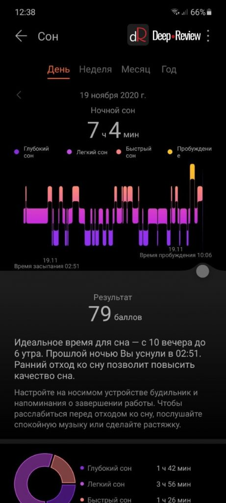 анализ сна на huawei watch fit