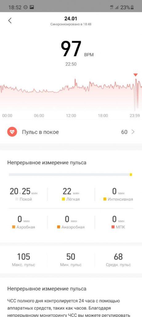 отчет о пульсе в zepp