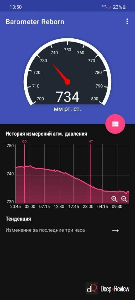 барометр на смартфоне