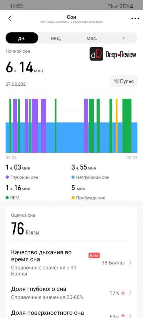 сравнение анализа сна на amazfit gts 2 mini