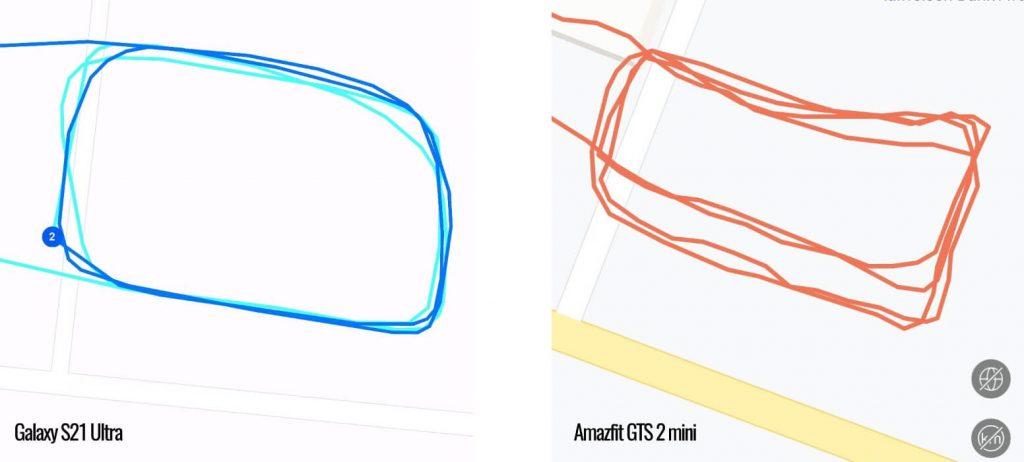 точность работы GPS на GTS 2 mini против S21 Ultra