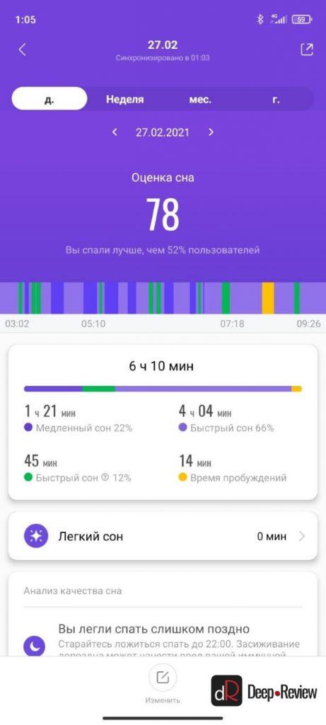 сравнение анализа сна на mi band 5