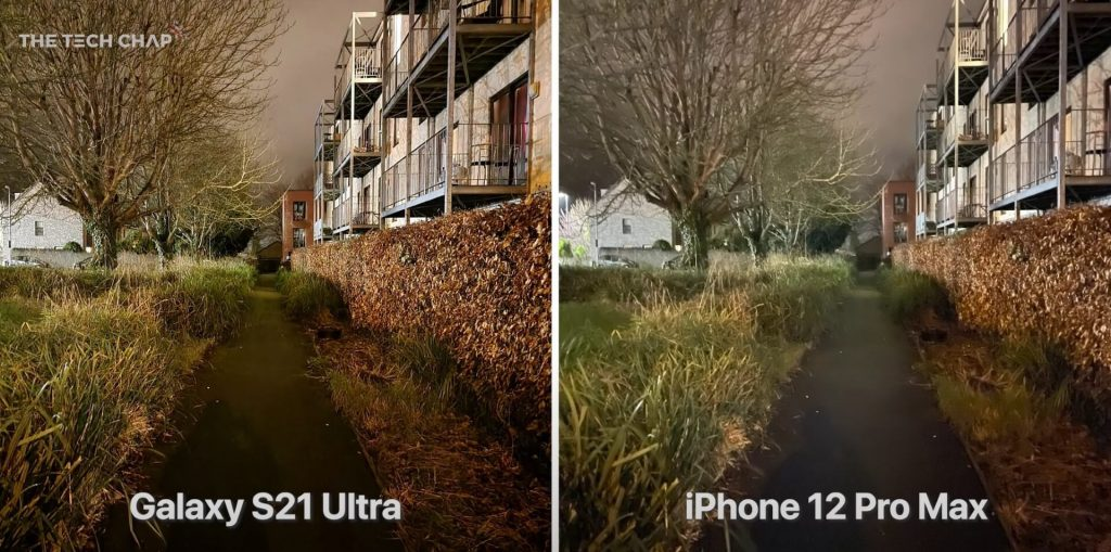 сравнение S21 Ultra ночью против iPhone 12 Pro Max