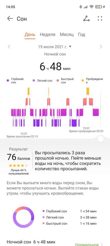 отчет о сне на huawei watch 3 pro