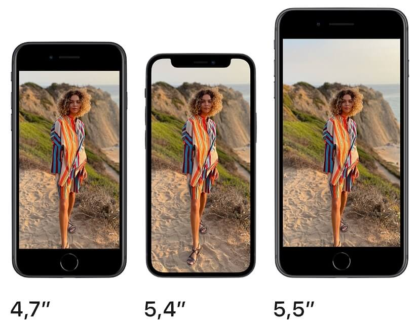 сравнение экранов iPhone SE, 8 Plus и 12 mini