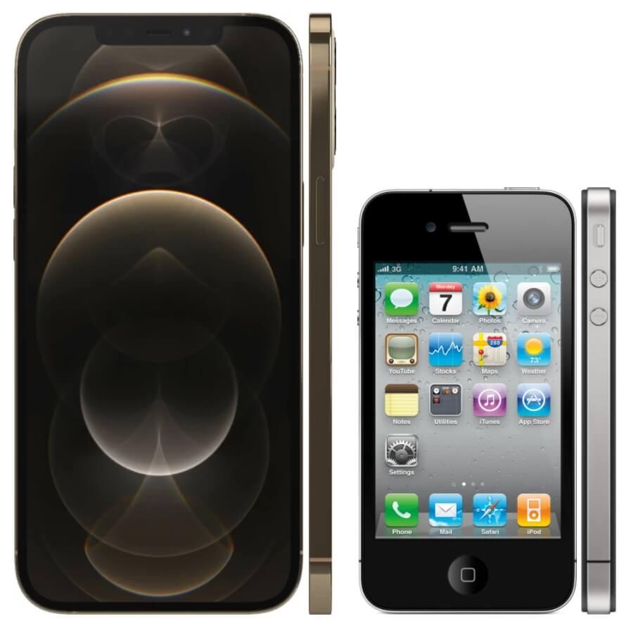 iphone 12 pro max против iphone 4