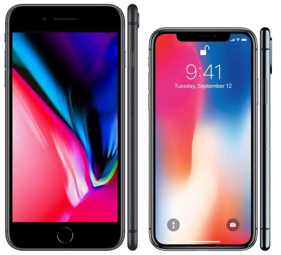 экран iphone x в сравнении с экраном iphone 8 plus