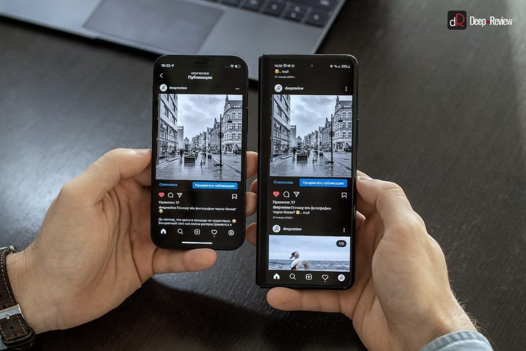 instagram на iphone и galaxy fold 3