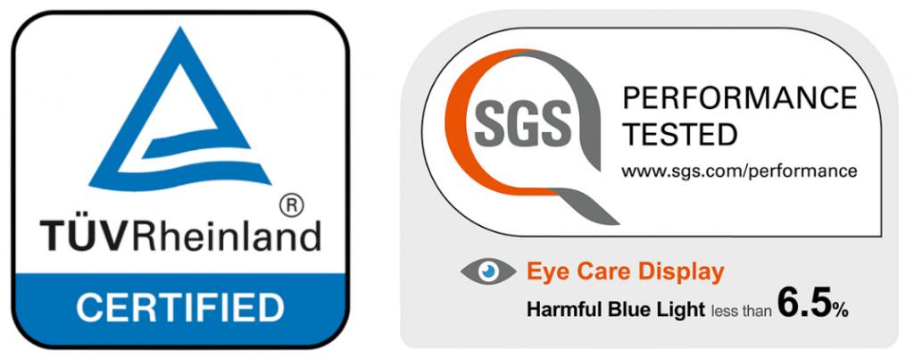 сертификаты eye comfort от tuv rheinland и sgs