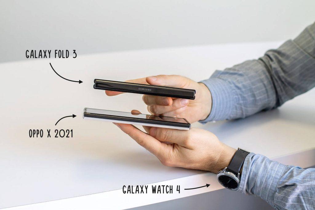 толщина Galaxy Fold 3 против OPPO X 2021
